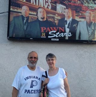 Posing outside Pawn Stars.