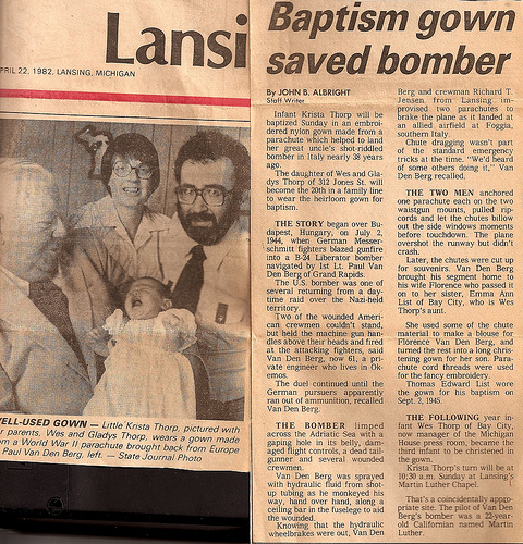Krista's baptism in the paper.