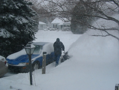 Snowblowing my driveway during a 2005 snowstorm.