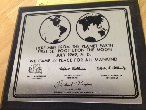 My replica of the moon plaque.