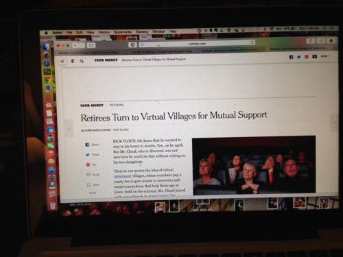 New York Times story about virtual communities for senior citizens.