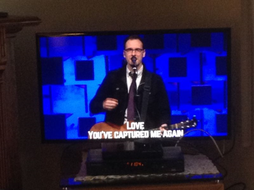 Ada Bible Church worship leader Andy Ferris introduces new song this morning.