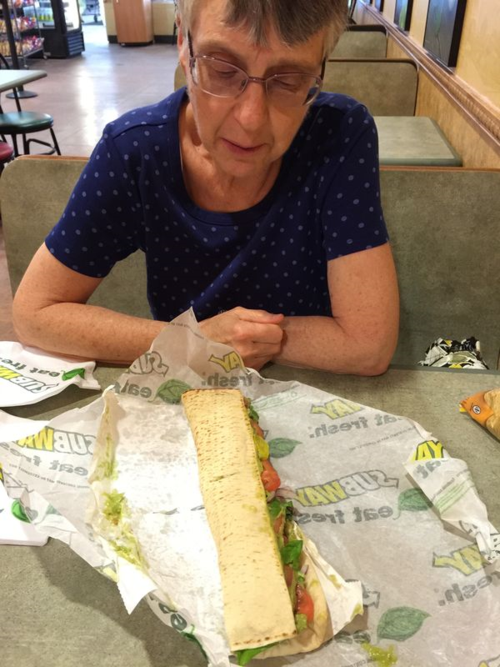 No candlelight at Subway, but the eating is tasty and it's healthy.