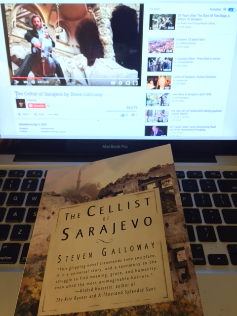 The cover of the book, The Cellist of Sarajevo.