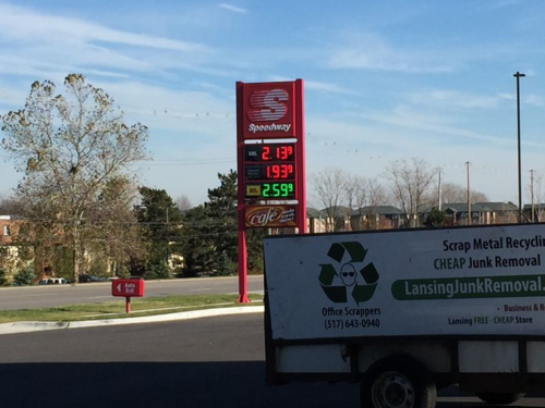 Gas price sign says $2.13