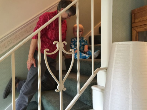 Talking steps with your grandson on Thanksgiving Day.