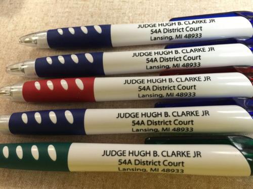 Judge Clark brought pens
