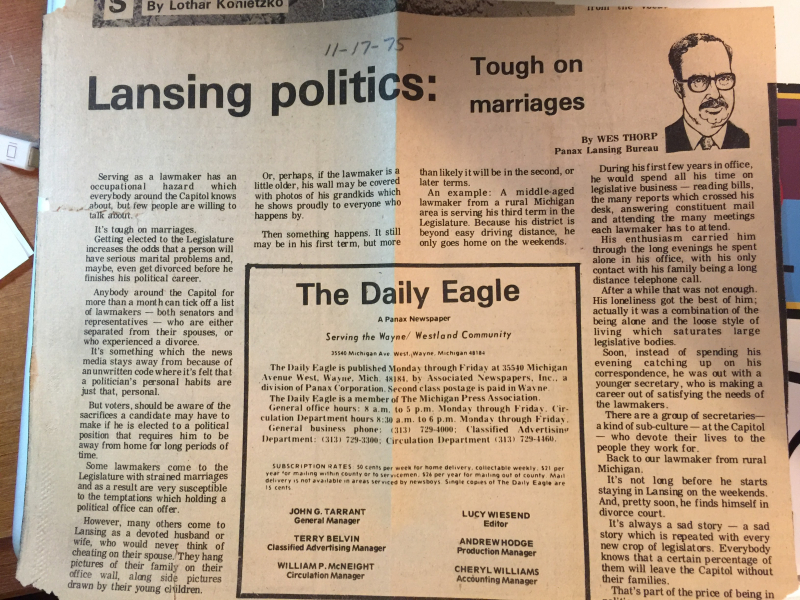 My newspaper column about legislative marriages.