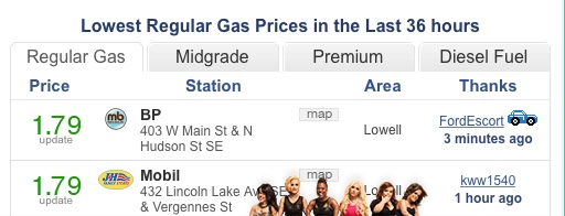 Gas prices in Lowell, MI win the prize for us.