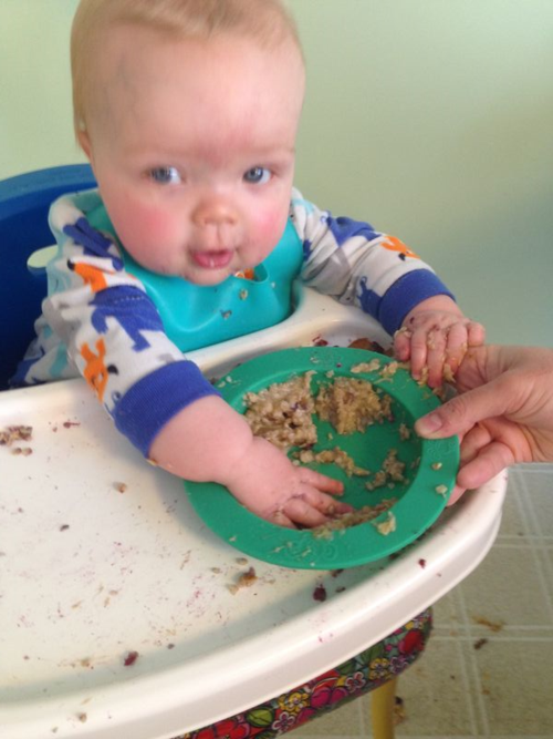 Grandson Miles eats oatmeal for breakfast.