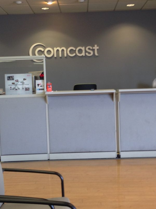 This is the front counter of our local Comcast office.