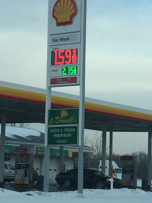 Gas for $1.59 per gallon in Lansing.