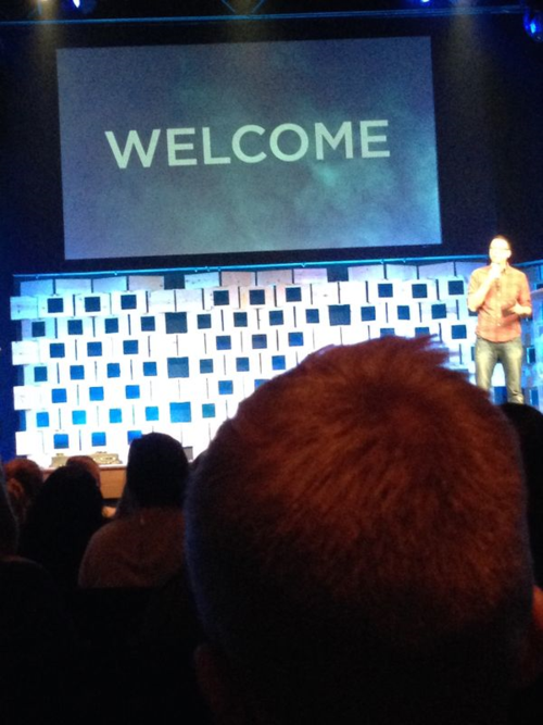 An iPhone picture of the opening of the service at Ada (MI) Bible Church.