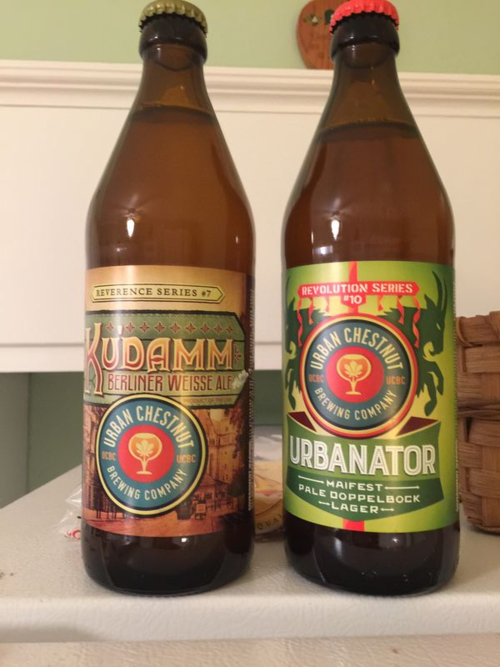 Two Urban Chestnuts beers.