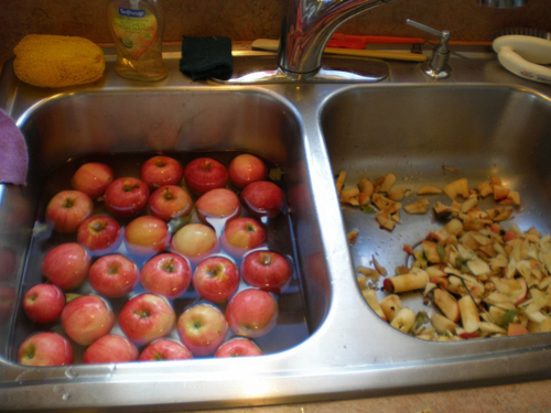 A picture of washed and cored apples.