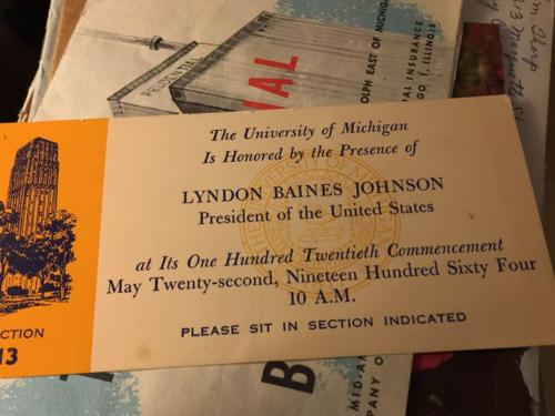 Ticket stub from President Lyndon Johnson event in Ann Arbor.
