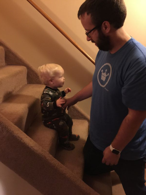 Learning to go down steps.