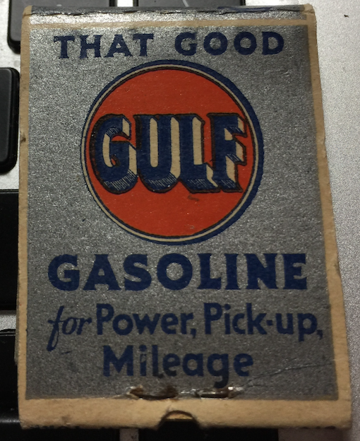Gulf Oil matches.