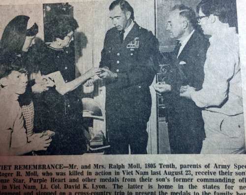 My cousin receives medals posthumously.