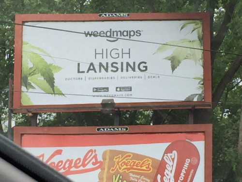 Marijuana billboard in Lansing.