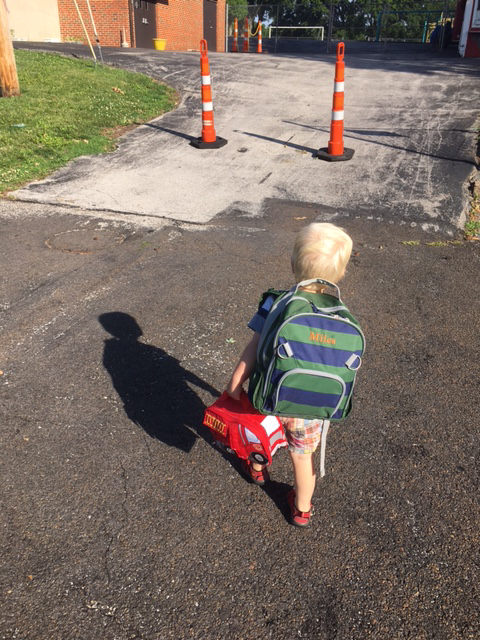 My grandson is off to school.